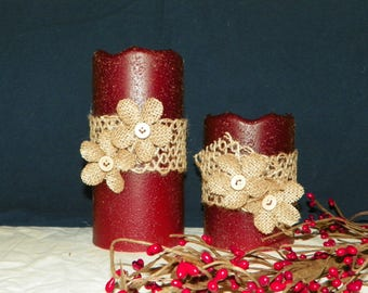 Flameless LED 6 or 4 Inch Primitive Textured TIMER PILLAR Candles, Battery Operated