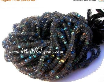 50% Off Sale Full 14 Inches Strand of Blue Flashy Labradorite Micro Faceted Rondelles Size 3.5mm approx
