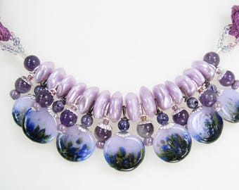 Handmade Glass Lampwork Headpin Necklace with Earrings   Purple Passion