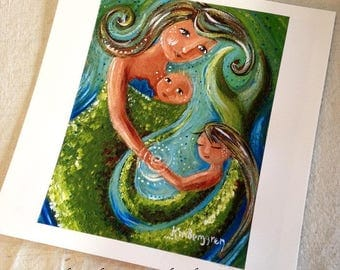 Most Gentle Soul - mermaid motherhood print from an acrylic painting by Katie m. Berggren