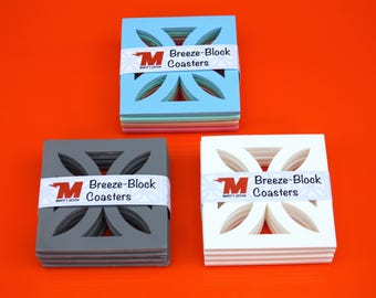 Mid-Century Modern Breeze-Block Coasters