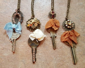 Vintage key necklaces your choice of one Handmade