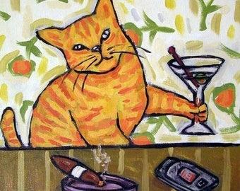 20 % off storewide Orange Cat - ginger cat - martini - martini art - modern cat art - gift -
