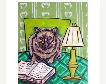 20 % off storewide Burmese Cat Reading a Book Animal Art Print