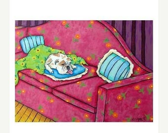 20% off storewide Bulldog, 11x14 art PRINT, bulldog art, bulldog PRINT, dog, dog art, sleeping, bedroom, bedroom art