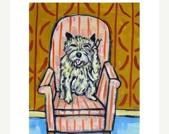 20% off Cairn Terrier Talking on a Cell Phone Dog Art Print
