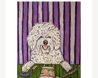 20% off Bichon Frise,dog, art, dog art, bichon frise art, bichon frise PRINT poster, PRINT, 11x14, needlepoint, gift