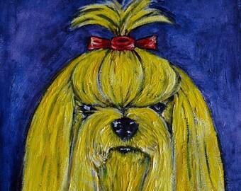 20% off Yorkie yellow yorkshire terrier dog art artwork tile coaster gift
