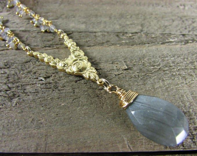 Labradorite Pendant, Gold Rose Connector Necklace, Labradorite Dangle Necklace, Long Gemstone Necklace