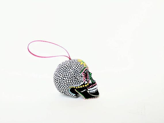 Skull ornament hand painted shatterproof Ornament sugar skull day of the dead