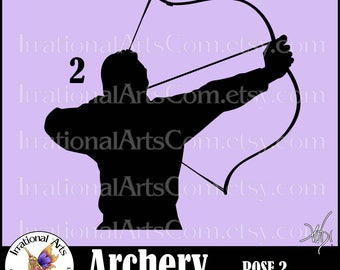 Archery Silhouettes pose 2 - 1 EPS & SVG and png Vinyl Ready files digital graphics and SCL - Archers bow arrow bulls eye (Instant Download)