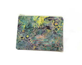 Cosmetic Case, Cord Case, Bridesmaid Gifts, All-Purpose Zipper Case,  Dark Green and Dragonfly Batik 9041 9042