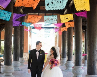 Wedding Outdoor Garland Banner AMOR VARIETY bunting laser paper cut Papel Picado Fiesta Wedding Flags - Mexican Hand Cut Tissue Paper Flags
