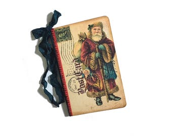 Santa Claus Journal, Christmas Journal, Santa with PackVintage Santa, Stocking Stuffer, Mini Santa Recipe Jotter, Party Favor, Cookie Swap