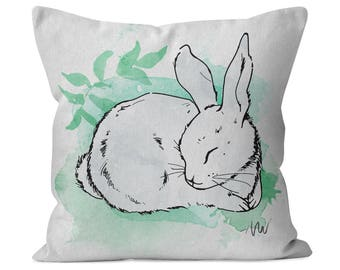 Sleeping Bunny Rabbit #4 Cotton Twill Pillow for baby girl or boy - nursery decor collection, kids gift