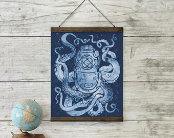 Deep Sea Large Art Print Wall Hanging With Schoolhouse Solid Oak Wooden  Bars   Nautical Home