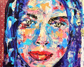 Palette Knife Painting. Mixed Media Collage Art. Portrait Art Painting. Gift For Her Apartment. Small Painting. Rainbow Colors