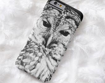 Barred Owl Face Cell Phone Case Black and White Bird Portrait