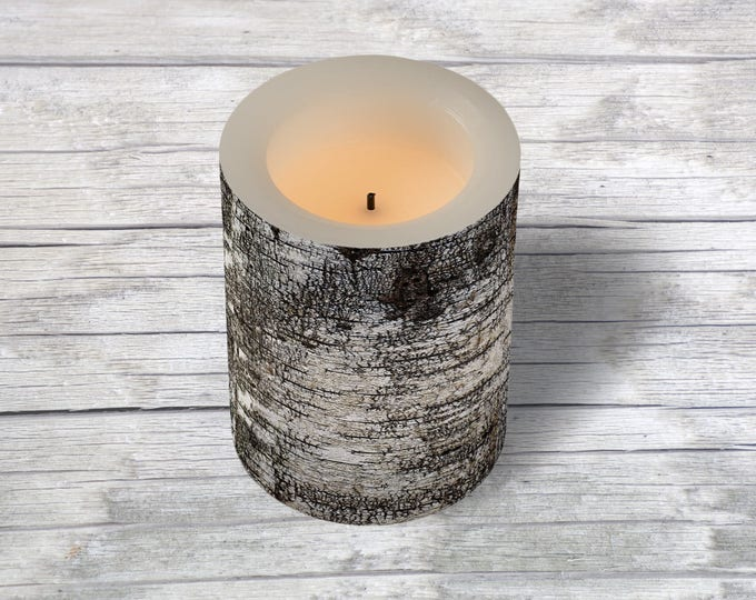 Safe Flame-less LED Candle Distressed Birch Tree Bark Photo Wrap Outside, Faux Lit Candle Rustic Fall Theme Home Decor