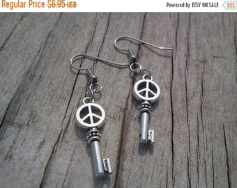 25% off Summer Sale Peace Sign Key Earrings Sensitive Ear Jewelry