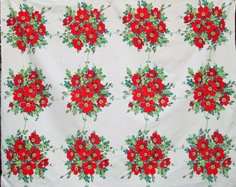 Vintage Wilendur Tablecloth Floral Table Cloth Red White Wildrose Wild Roses Dining Kitchen Textiles Vintage Linens