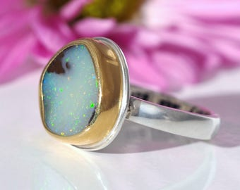Opal Ring - Sterling Silver 22K Gold Australian Koroit Boulder Opal ring - US size 6 3/4 - Opal promise ring - size 6.75 - opal engagement