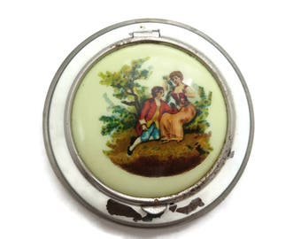 Enamel Compact - Printed Celluloid Courting Couple
