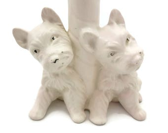 White Westie Scottie Dog Lamp - Porcelain GW Co Germany Texaco Dogs