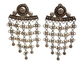 Silver Boho Earrings - Chandeliers Long Dangles Clips Gypsy Costume Jewelry