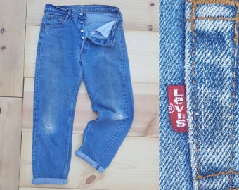 "Vintage Levi's 501 Jeans  //  Vtg 90s Made in the USA Levi Trashed Distressed Indigo Denim Button Fly Jeans with Holes  // 31 "" waist"