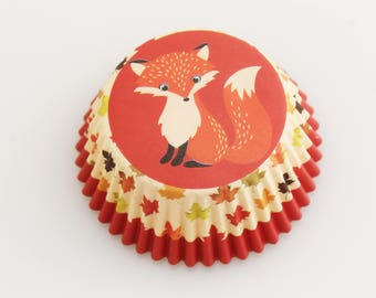 Fox Cupcake Cup Liners. Harvest. Thanksgiving.