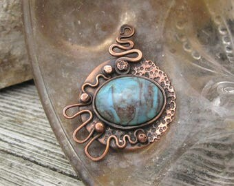 rustic copper pendant MISTY BLUE original handmade pendant vintage acrylic cabochon