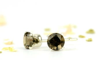 Smoky quartz earrings, one pair sterling silver and smoky quartz studs, 3mm, 4mm or 6mm, deep rich brown gemstone earrings, gift for women