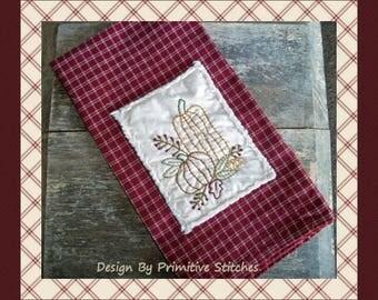 Prim Pumpkin  Hand Towel Collection 1-Primitive Stitchery  E-PATTERN-Instant Download