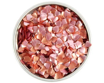 Red Heart Edible Glitter - metallic rose gold heart sprinkles