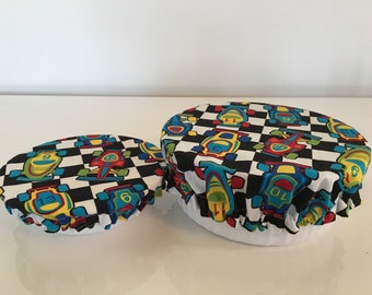 Reusable Eco-Friendly Fabric Picnic Snack Food Bowl Covers Lids Race Cars (Set of 2)