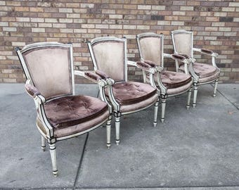 4 shabby chic FRENCH provinical velvet arm chairs