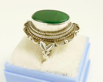 Vintage Sterling 925 Chrysoprase Ring Southwestern Style Statement Ring