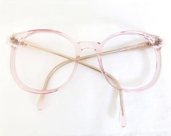 Vintage 80's Transparent Pink Oversized Frames