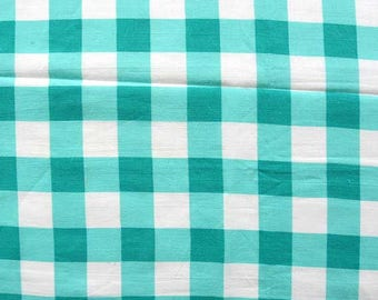 Vintage 1930's Feed Sack Cotton  Fabric, Aqua and White Checks, Block Pattern, Large Check Pattern, Vintage Fabric, Quilt Fabric