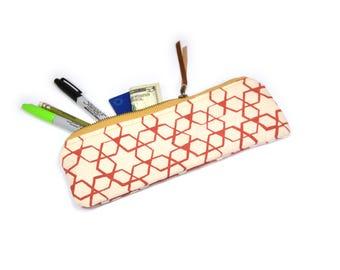 pencil case • geometric zipper pouch • pink - geometric star print - hand screenprinted pencil case - travel bag - make up bag
