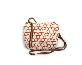 date purse  • geometric print - small cross body bag • pink - geometric star print - waxed canvas • crossbody bag - summer style