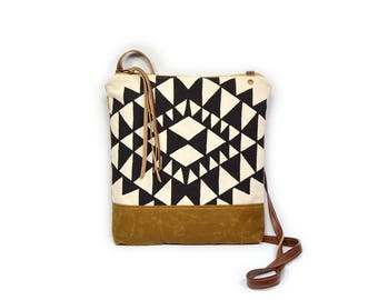 weekdayer • crossbody bag - waxed canvas• black and white geometric triangle print - brown waxed canvas
