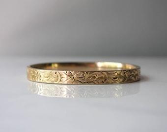 Edwardian Bracelet / Antique Gold Filled Edwardian Bangle / 1900s Gold Plated Floral Bangle Bracelet