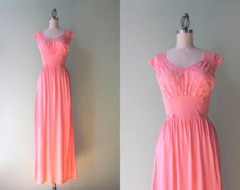 1960s Negligeeé / Vintage 50s Pink Maxi Nightgown / 1950s Embroidered Negligee XS extra small S