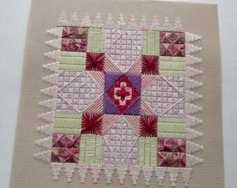 ON SALE- vintage cross stitch needlepoint sampler red, purple,pink, green - not framed