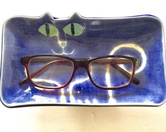 Cat pottery glasses holder: rectangle tray Hand Made design functional whimsical pet resort veterinary office decor