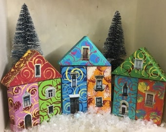Hand Painted Quirky Wooden Block Village - Set Four