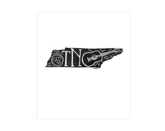 Tennessee State Print // 1canoe2 // Modern Art Print