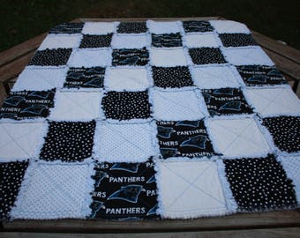 Baby Rag Quilt made w/panther fabric,  football blanket, throw, rag quilt, baby shower gift, football rag quilt